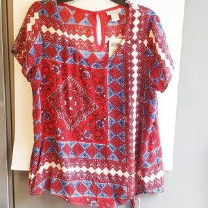 Lucky Brand red and blue boho top large